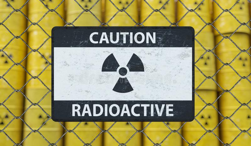Radioactive caution sign on chain link fence and many barrels with nuclear waste in background. 3D rendered illustration stock illustration
