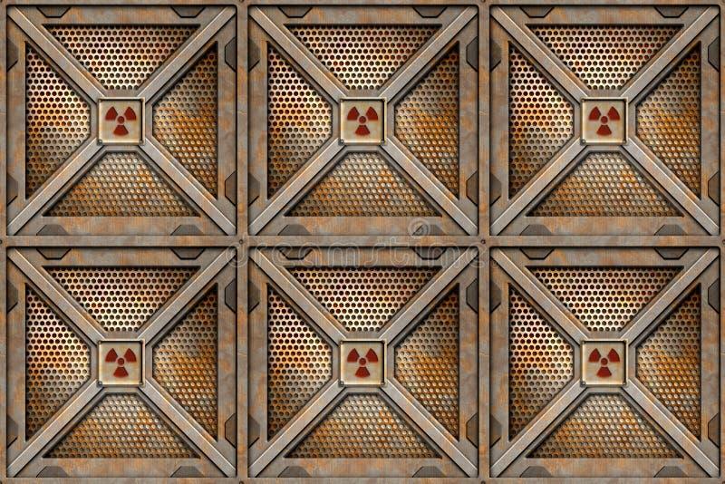 Radioactive crates storage box royalty free illustration