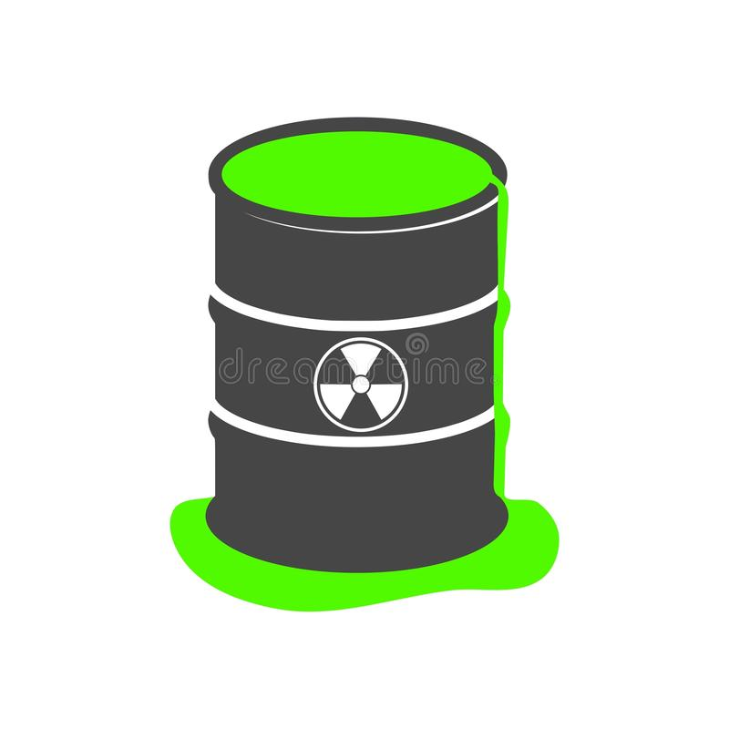 Radioactive green slime icon, Barrel with spilled liquid. On white background stock illustration