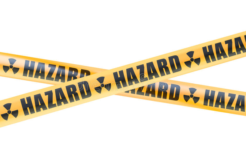 Radioactive Hazard Barrier Tapes, 3D rendering royalty free illustration