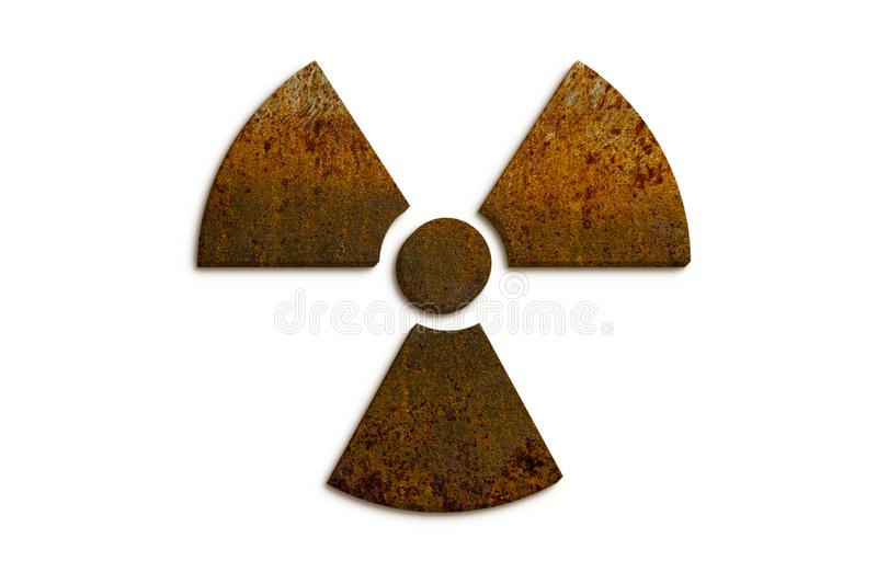 Nuclear Radioactive ionizing radiation nuclear danger symbol constructed of 3D rusty metal grungy isolated on white background stock photo