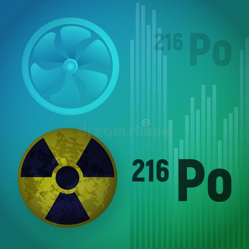A radioactive isotope of polonium. stock illustration