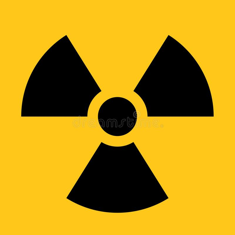 Free Radioactive Material Sign. Symbol Of Radiation Alert, Hazard Or Risk. Simple Flat Vector Illustration In Black And Stock Images - 131163964