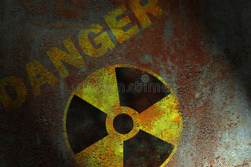 Radioactive sign. On corroded metal surface royalty free stock photos