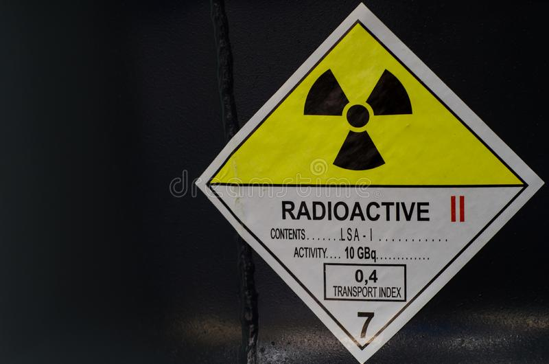 Radioactive sign on barrel. Close-up of radioactive sign on barrel stock photo