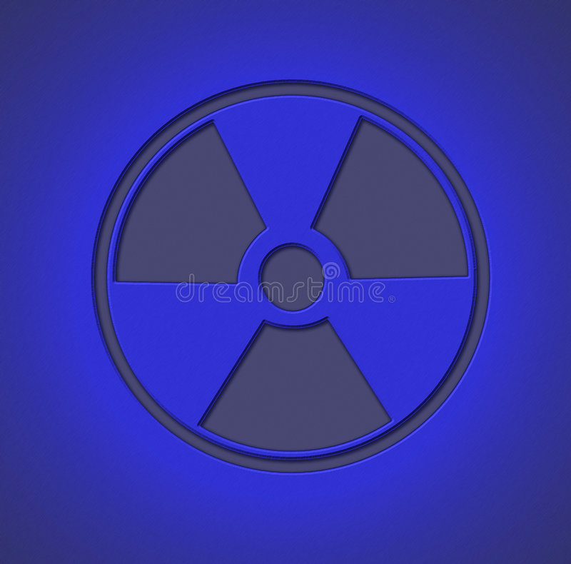 Radioactive Sign Blue. Radioactive sign engraved on metal sheet with blue light stock photos
