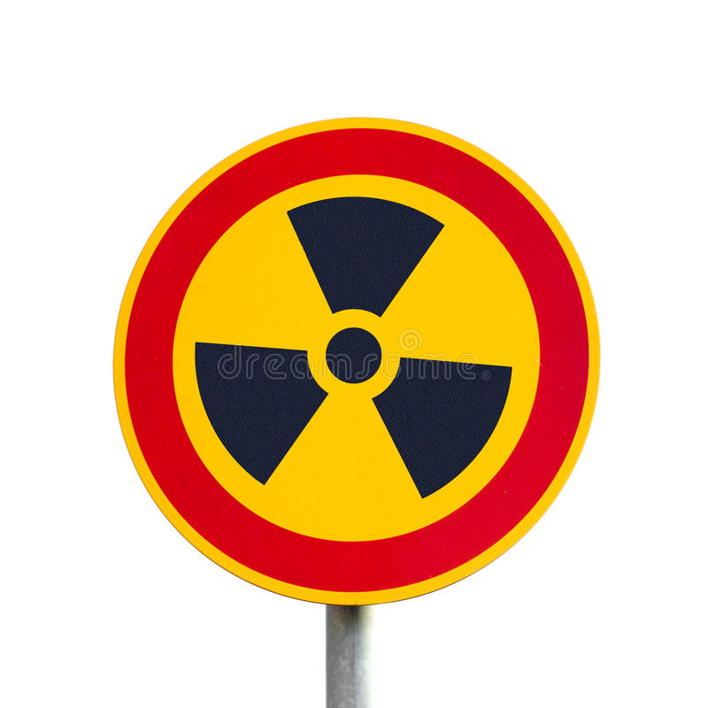 Radioactive Sign, isolated. Symbolic radioactivity sign on metal post isolated on white background stock images