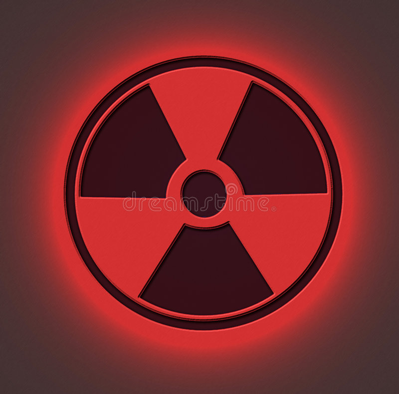 Radioactive Sign Red. Radioactive sign engraved on metal sheet with red light stock images