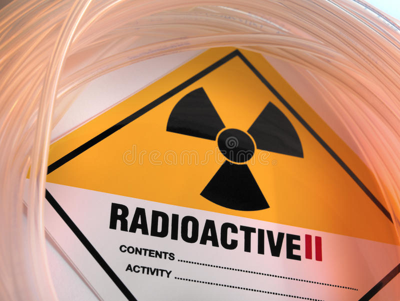Radioactive Warning Sign. A sign warning of Class two level Radioactive materials stock photography
