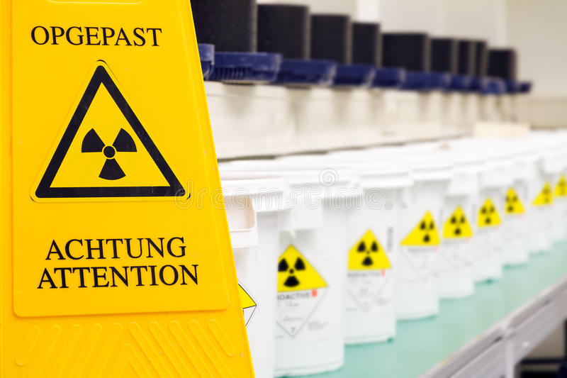 Radioactive warning sign. Warning sign for radioactive materials stock photo