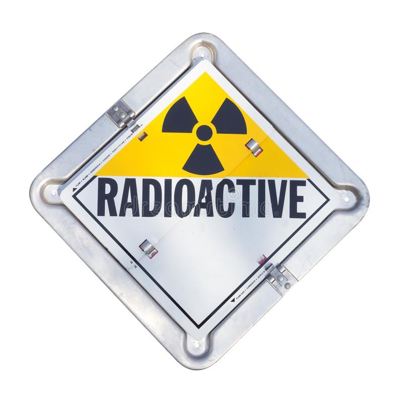 Radioactive warning sign. Truck transport radioactive warning sign stock photo