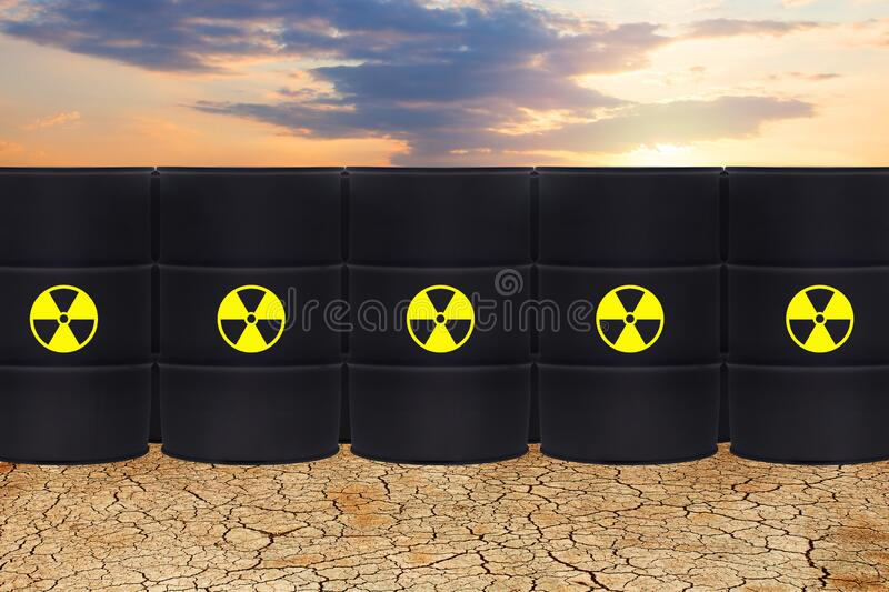 Radioactive waste against dry earth and sky clouds. Environment protection and toxic nuclear pollution concept.  vector illustration