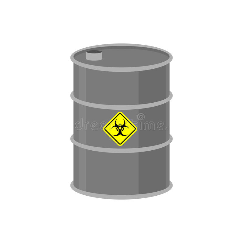 Radioactive waste barrel. Toxic refuse keg. Poisonous liquid cask. Chemical garbage emissions. environmental pollution. danger vector illustration