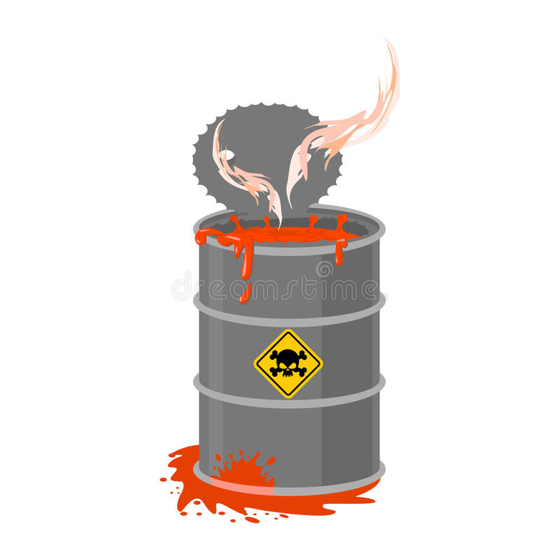 Radioactive waste barrel. Toxic refuse keg. Poisonous liquid cask. Chemical garbage emissions. environmental pollution. danger stock illustration