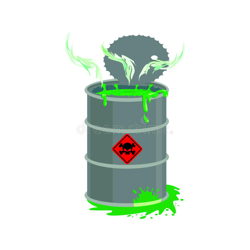 Radioactive waste barrel. Toxic refuse keg. Poisonous liquid cask. Chemical garbage emissions. environmental pollution. danger royalty free illustration