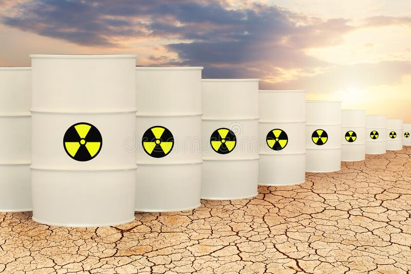 Radioactive waste barrels. Toxic nuclear pollution concept.  vector illustration