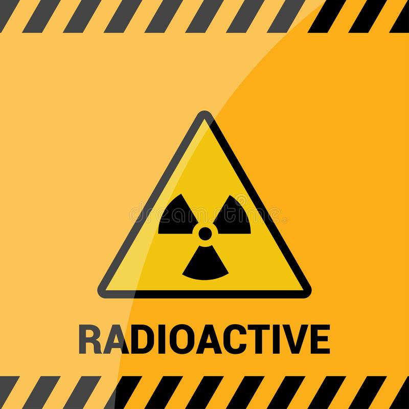 Radioactive zone, vector sign or symbol. Warning radioactive zone in triangle icon isolated on yellow background with stripes. Rad vector illustration