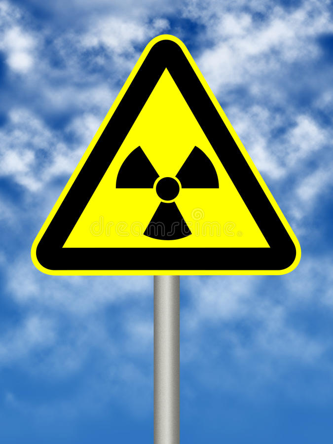 Radioactivity sign. On blue sky vector illustration