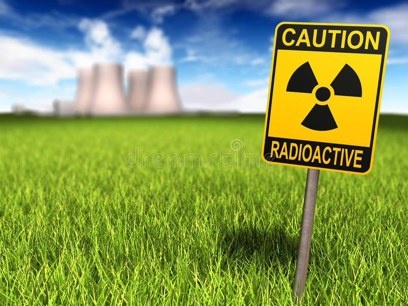 Radioactivity Sign And Nuclear Power Plant. Radioactivity sign on a grassy field and nuclear power plant in background, 3d render vector illustration