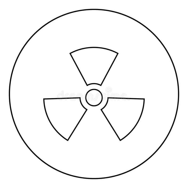 Radioactivity Symbol Nuclear sign icon in circle round outline black color vector illustration flat style image. Radioactivity Symbol Nuclear sign icon in circle vector illustration
