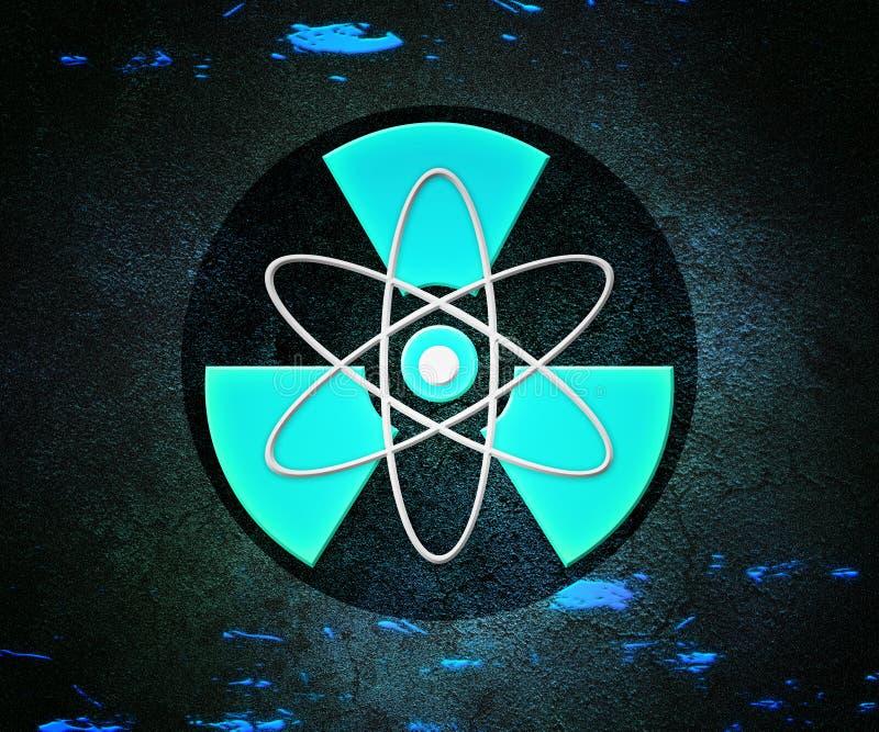 Radioaktiv bakgrund för blåttAtom royaltyfri illustrationer
