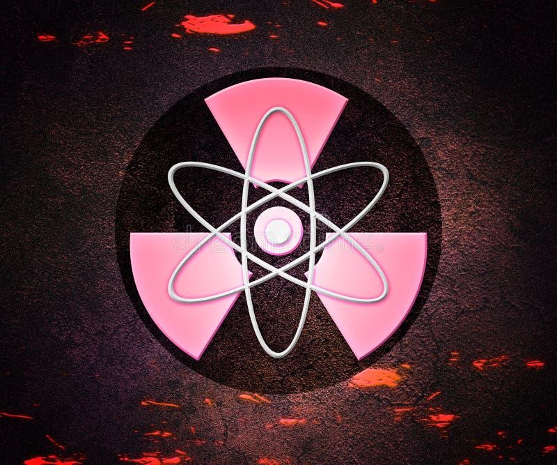 Radioaktiv bakgrund för röd Atom royaltyfri illustrationer