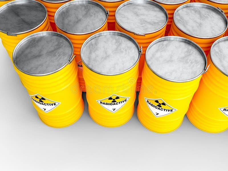 Radioaktiv gul trumma stock illustrationer