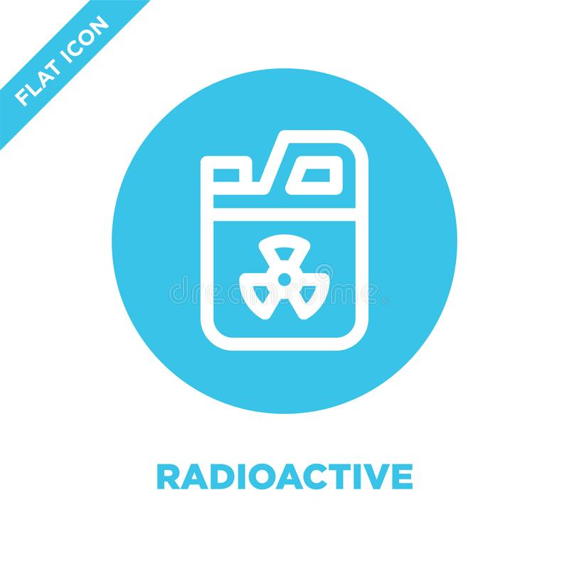 radioaktiv symbolsvektor Tunn linje radioaktiv illustration för översiktssymbolsvektor radioaktivt symbol för bruk på rengöringsd stock illustrationer