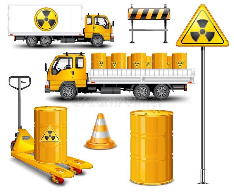 radioaktiv transportavfalls stock illustrationer