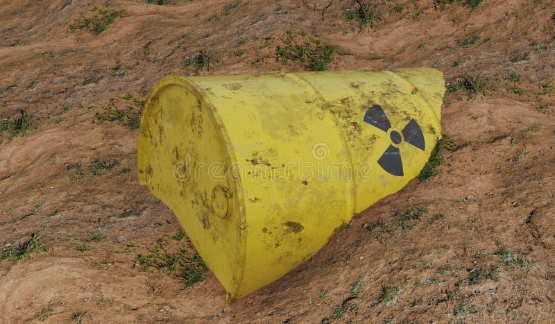 Radioaktiv trumma av kärn- avfalls Ekologi- och miljöbelastningbegrepp framförd illustration 3d vektor illustrationer
