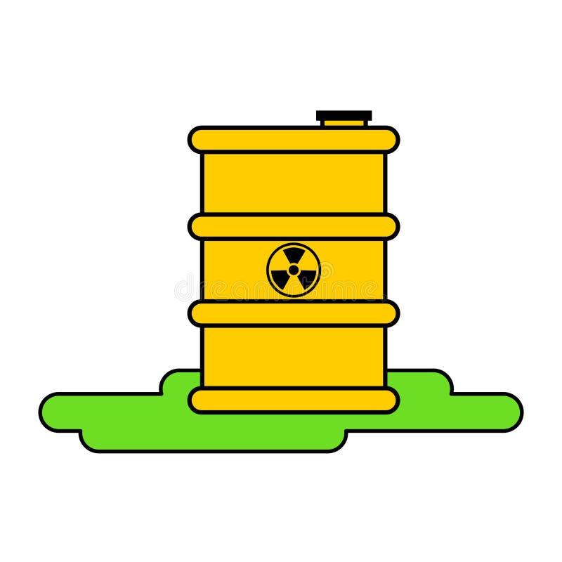 Radioaktiver Abfall des gelben Fasses E Vector Kranken vektor abbildung