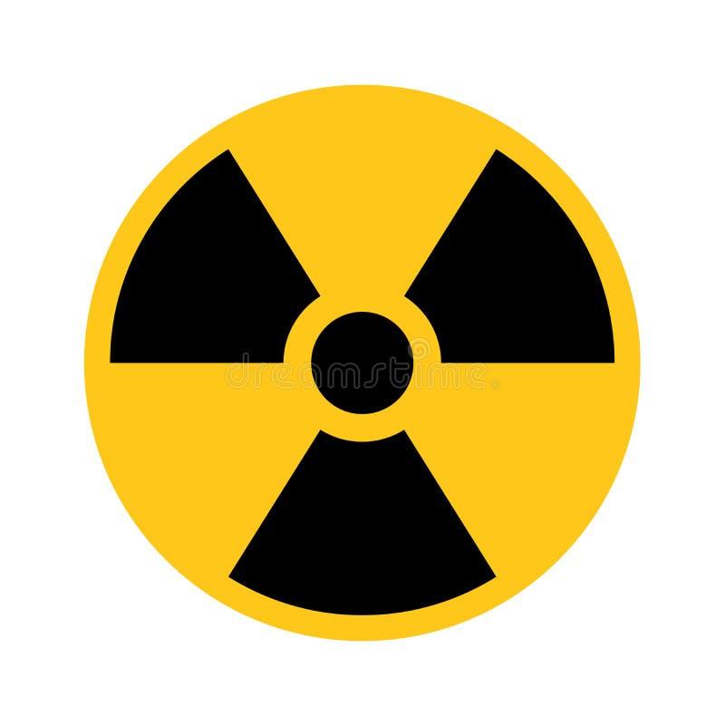 Radioaktives materielles Zeichen Symbol des Strahlenalarms, der Gefahr oder des Risikos Einfache flache Vektorillustration in Sch lizenzfreie abbildung