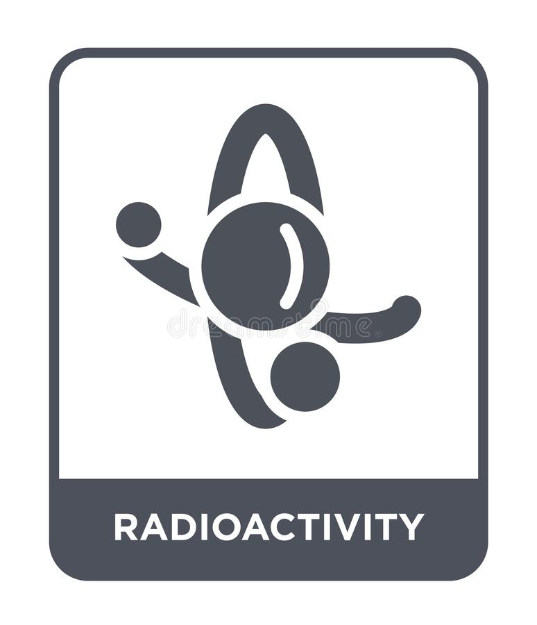 Radioaktivitätsikone in der modischen Entwurfsart Radioaktivitätsikone lokalisiert auf weißem Hintergrund Radioaktivitätsvektorik lizenzfreie abbildung