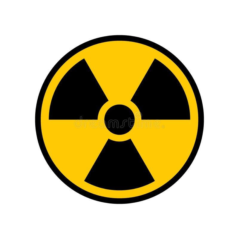 Radioaktivt tecken för varningsgulingcirkel Radioaktivitetvarningssymbol royaltyfri illustrationer