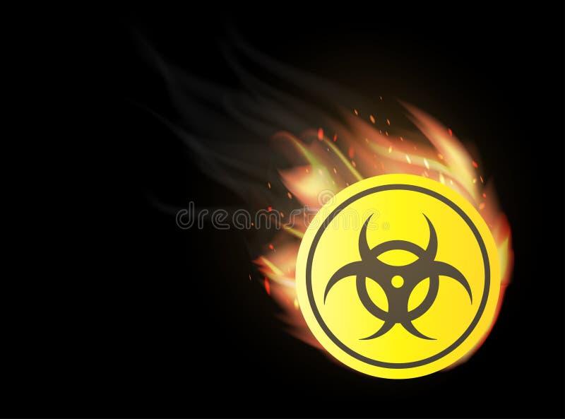 Radioativo com burning do fogo ilustração do vetor