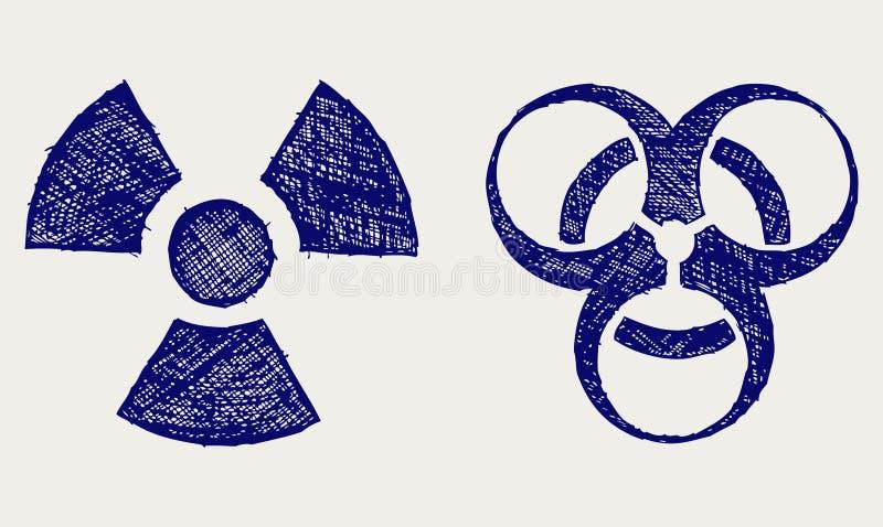 Radioattivo e biohazard illustrazione di stock