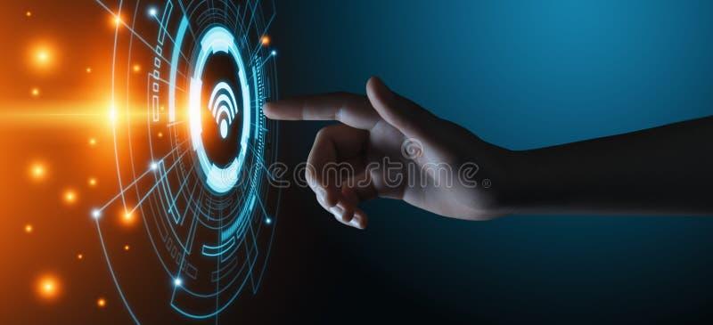 Radiobegrepp för Wi Fi Fritt begrepp för internet för teknologi för WiFi nätverkssignal royaltyfri foto