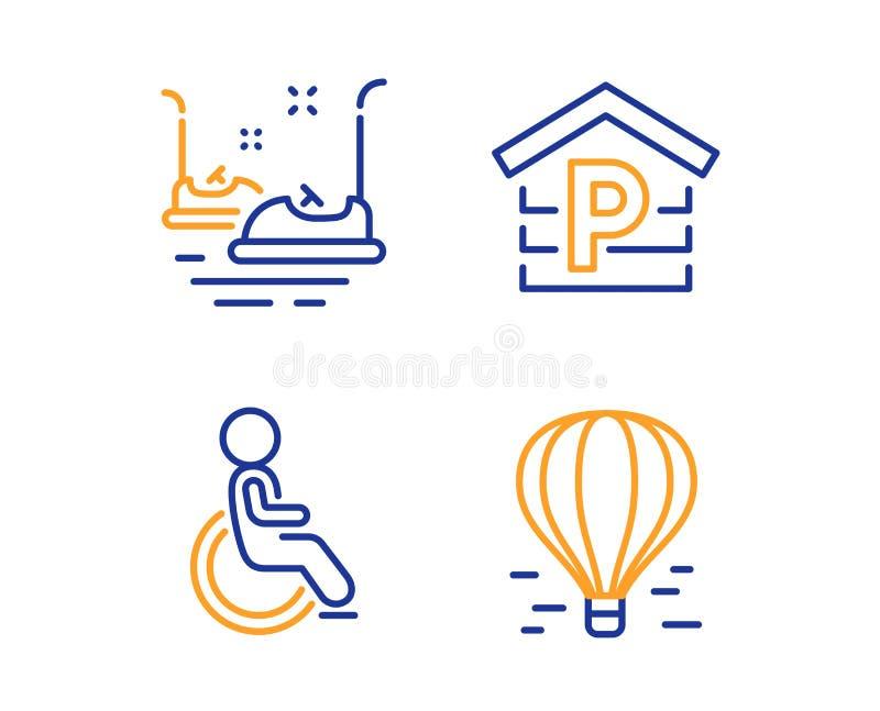 Radiobiler, parkering och rörelsehindrad symbolsuppsättning Tecken för luftballong Karuseller garage, handikappad rullstol vektor vektor illustrationer