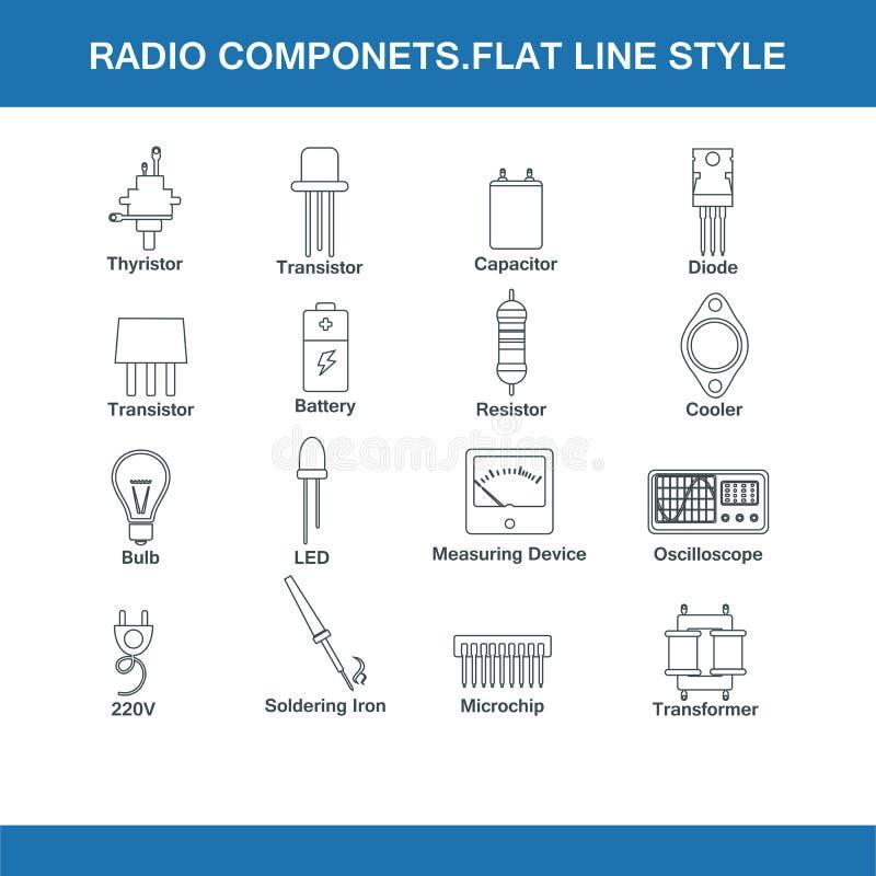 Radiodelar sänker linjen stil vektor illustrationer