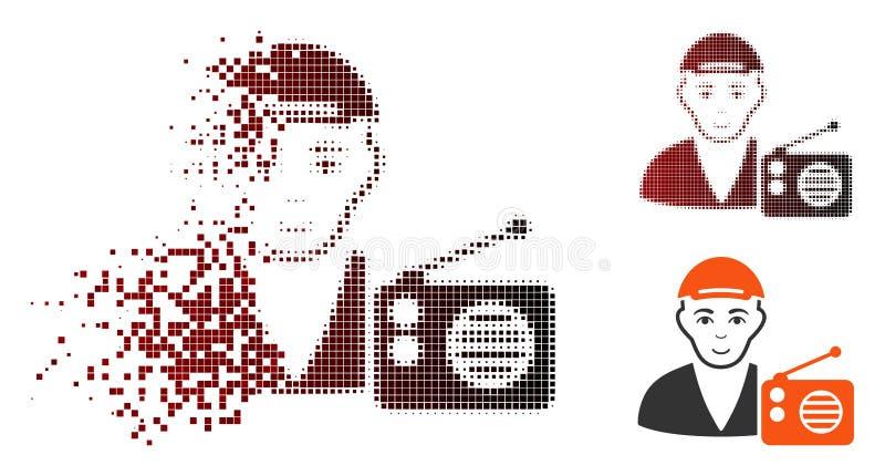 RadioDictor för rörande PIXEL rastrerad symbol med framsidan stock illustrationer