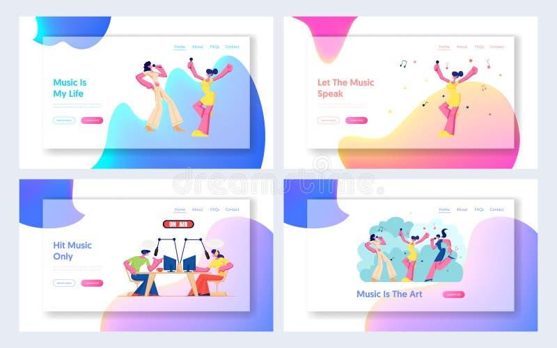 Radiodiffusion du DJ sur la radio, femmes chantant dans l'ensemble de page d'atterrissage de site Web de bar karaoke, divertissem illustration libre de droits