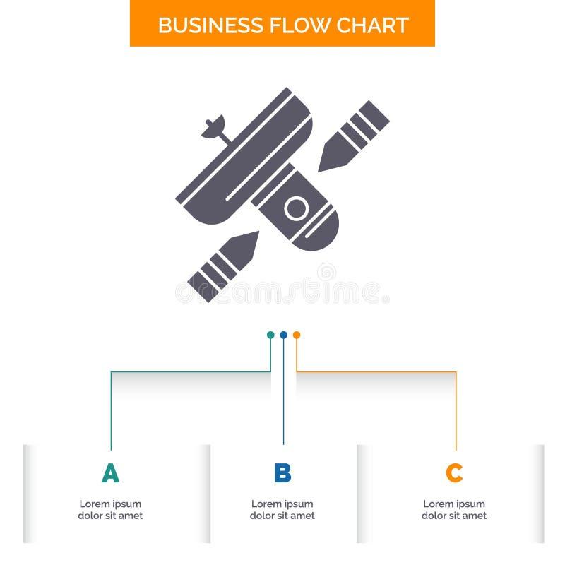 Radiodiffusione, radiodiffusione, radio, satellite, progettazione del diagramma di flusso di affari del trasmettitore con 3 punti royalty illustrazione gratis