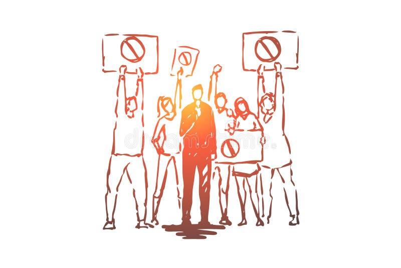 Radiodiffusione in tensione di malcontento sociale, reporter di notizie della TV, microfono di tenuta corrispondente, dimostranti royalty illustrazione gratis
