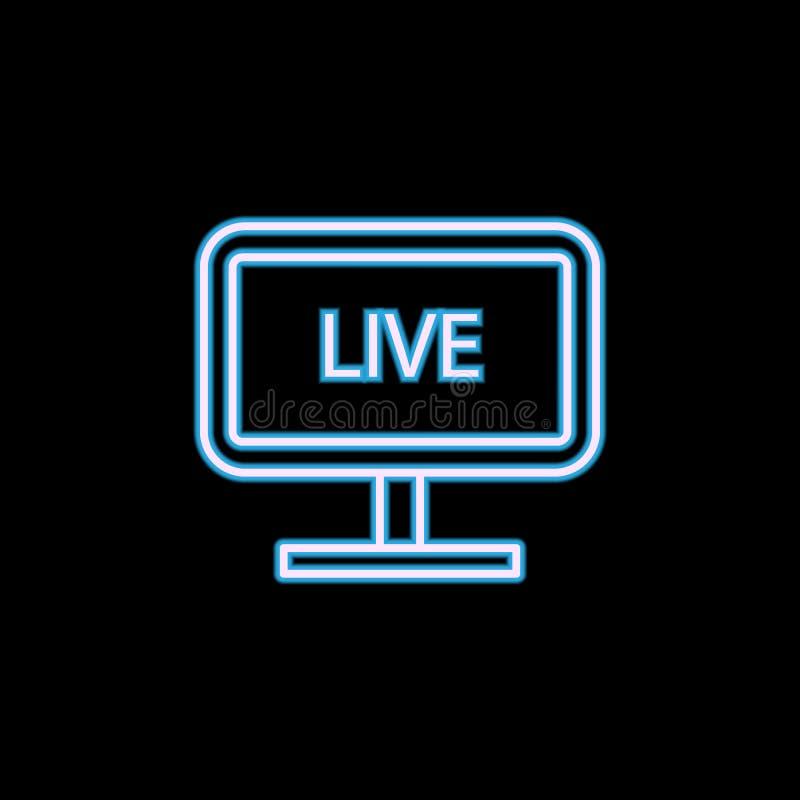 radiodiffusione in tensione sull'icona della TV nello stile al neon Uno dell'icona della raccolta di giornalismo può essere usato illustrazione vettoriale