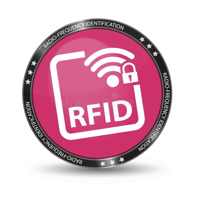 RadiofrekvensID RFID - glansig rengöringsdukknapp - som isoleras på vit stock illustrationer