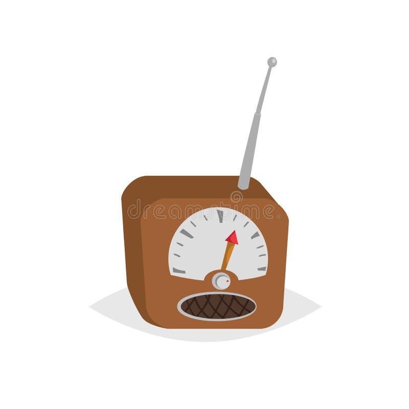 Radiogerät der Karikaturweinlese mit Sprecher und Antenne Komische Designikone der Retro- Technologie Auch im corel abgehobenen B stock abbildung