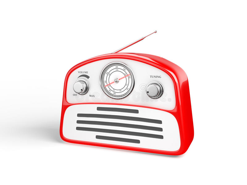 Radiogerät des alten roten Weinleseretrostils lizenzfreie abbildung