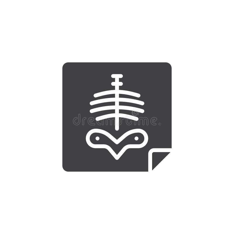 Radiografía del vector del icono del pecho del cuerpo humano stock de ilustración