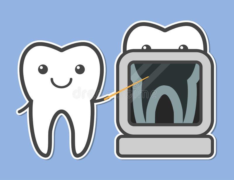 Radiografía demostrada dos dientes stock de ilustración