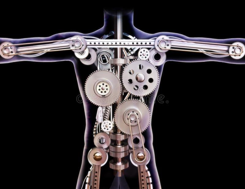 Radiografía humana masculina con los engranajes internos en un fondo negro. foto de archivo